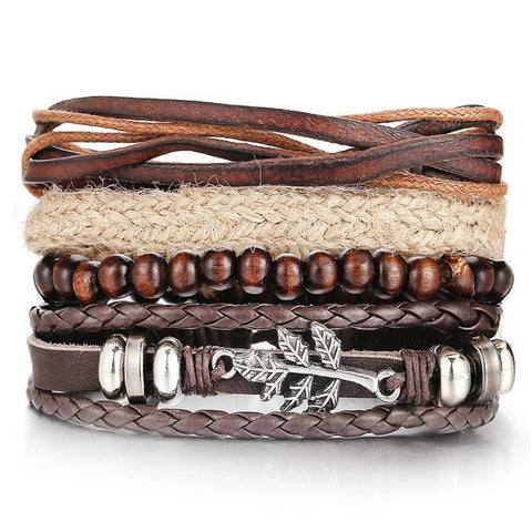 Image of Men Fashion Braided Handmade Star Rope Wrap Bracelets