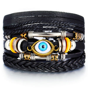 Men Fashion Braided Handmade Star Rope Wrap Bracelets