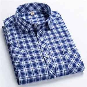 Classic Plaid Short Sleeved Shirts for Men