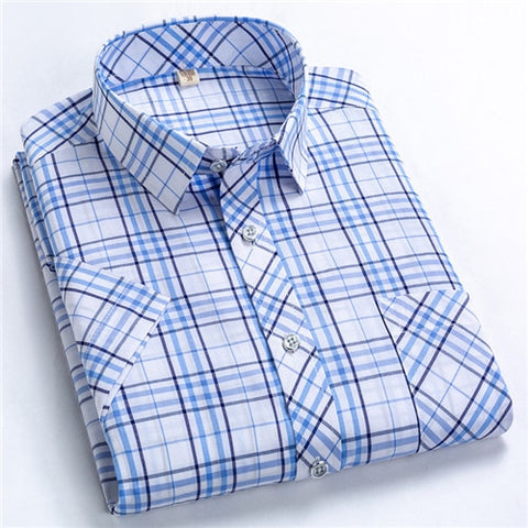 Image of Classic Plaid Short Sleeved Shirts for Men