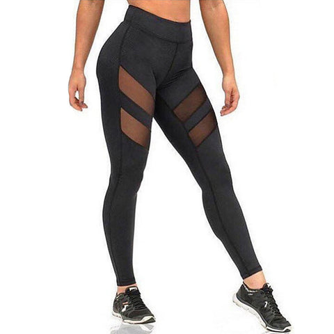 Image of Women's Cotton Sexy Sporty Legging - Solid Colored, Mesh Mid Waist Black L XL XXL / Skinny