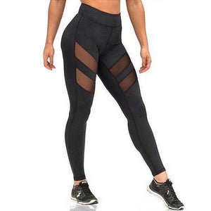Women's Cotton Sexy Sporty Legging - Solid Colored, Mesh Mid Waist Black L XL XXL / Skinny