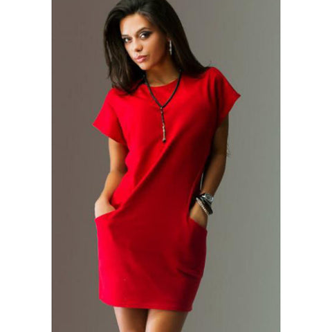 Image of Women's Shift Dress Fashion Spring Blue Black Red L XL XXL