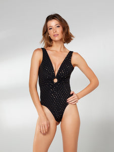 Black and Gold Polka Dot Ring Front One Piece