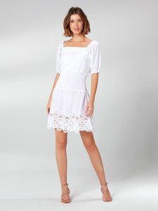 White Short Dress with Lace Detail