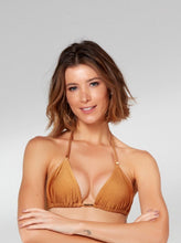Load image into Gallery viewer, Mustard Trama Slide Tri Bikini Top