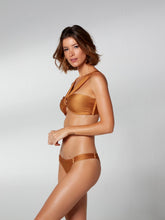 Load image into Gallery viewer, Mustard Trama Ring Front Bandeau Bikini Top