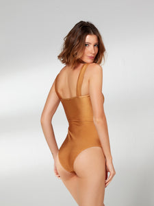 Mustard Trama One Piece with Belt