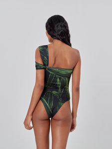 Green Leaves One Shoulder One Piece