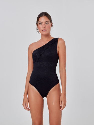 Black Leopard Textured One Shoulder One Piece