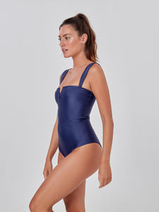 Navy Blue Square Neck One Piece