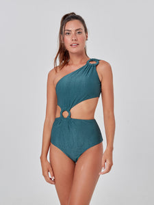 Green Snake Textured One Piece