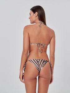 Animal Print Slide Tri Bikini Top
