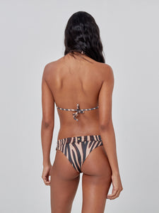 Animal Print Bikini Pants with Golden Detail