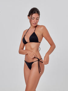 Black Leopard Textured Slide Tri Bikini Top