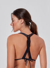 Load image into Gallery viewer, Black Macrame Knots Bikini Top