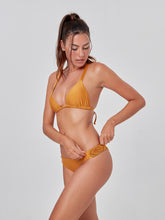 Load image into Gallery viewer, Apricot Macrame Knots Slide Tri Bikini Top