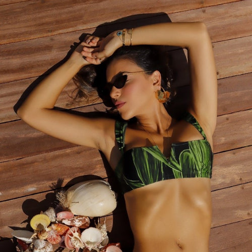 Green Leaves Bandeau Bralette Bikini Top