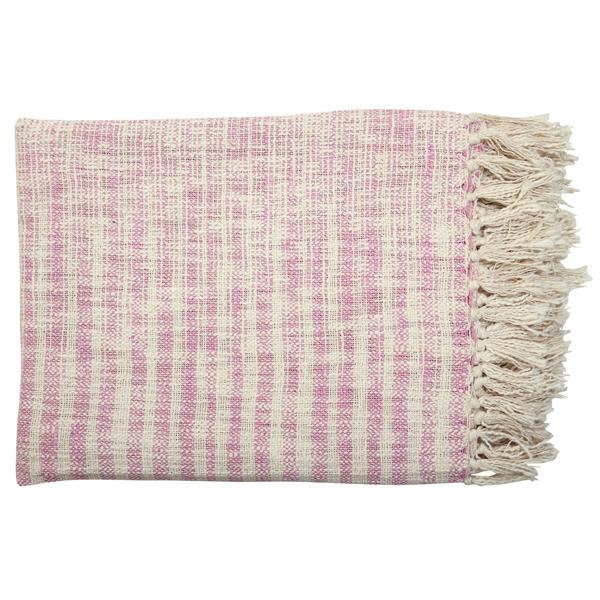 "50""x70"" 100% cotton throw blanket, pink and white with fringe"
