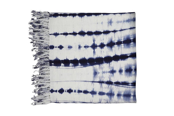 "54""x84"" 100% cotton throw blanket, navy blue and white with fringe"