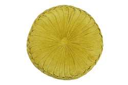 "yellow velvet 16"" round cushion"
