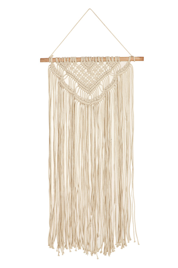 "14""x26"" natural white 100% cotton macrame wall hanging"