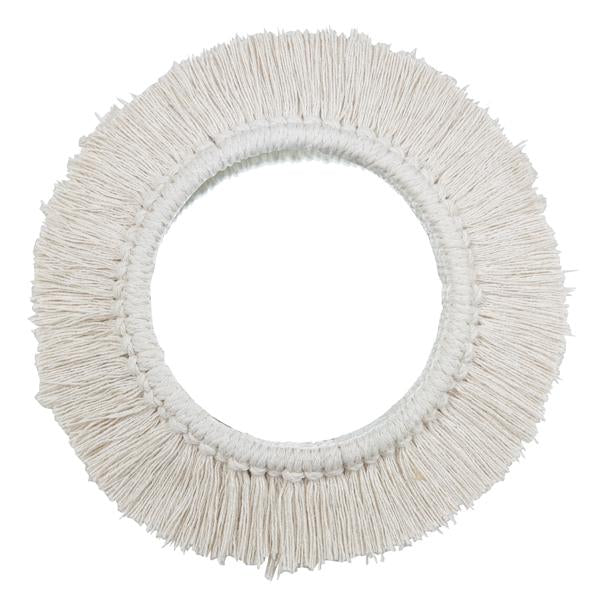 white fringe circular wall mirror