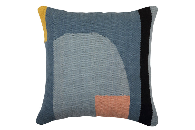 "16""x16"" 100% cotton pillow with multi colors of gray, blue, black, yellow and blush"