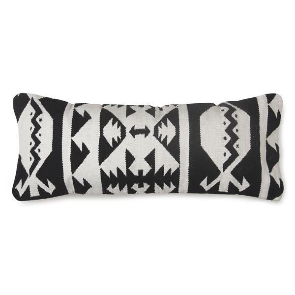 "black and white lumbar pillow 12"" x 30"""