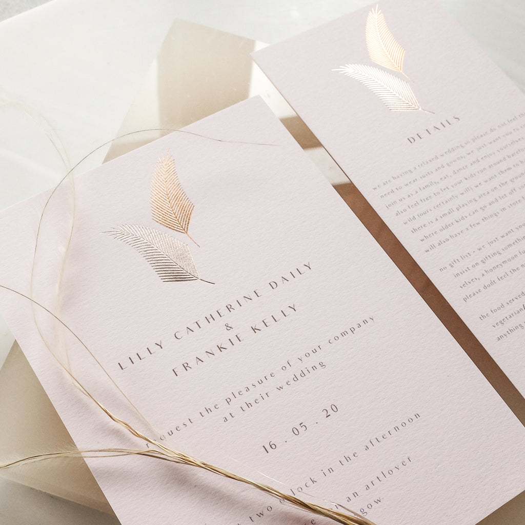 Deco Foiled Leaf Invitation Suite