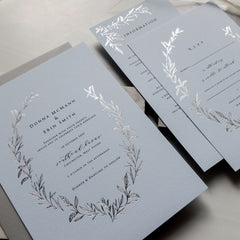 Silver Foil Wreath Invitation Suite