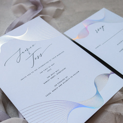Blue Spiral Foil Wave Invitation Suite