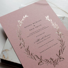 Rose Gold Wreath Invitation Suite