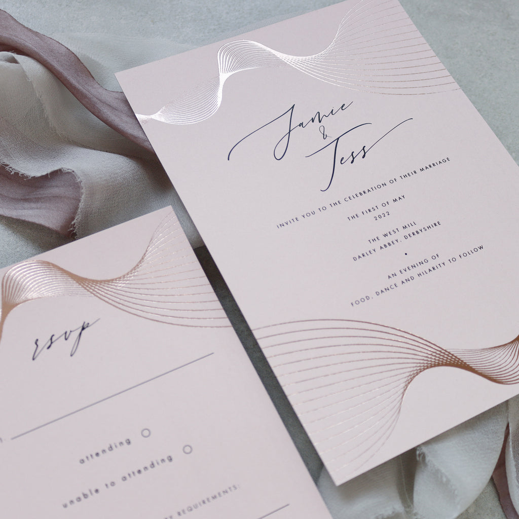 Pale Pink and Rose Gold Spiral Foil Wave Invitation Suite