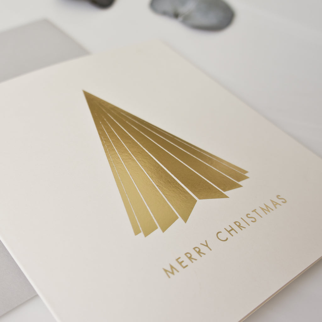 Gold foil pleated Christmas tree Card Pack of 8