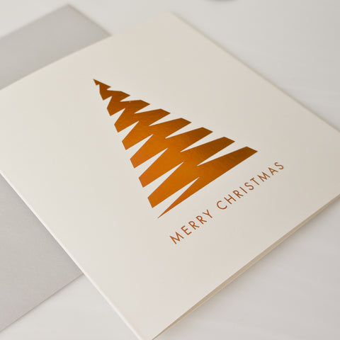Copper foil geometric Christmas tree Card Pack of 8
