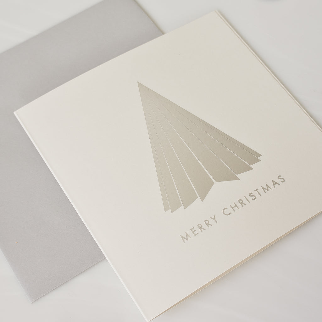 Silver foil pleated Christmas tree (card pack of 8)