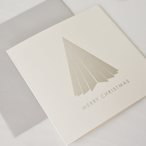 Silver foil pleated Christmas tree Card Pack of 8
