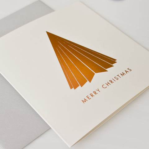 Copper foil pleated Christmas tree (card pack of 8)