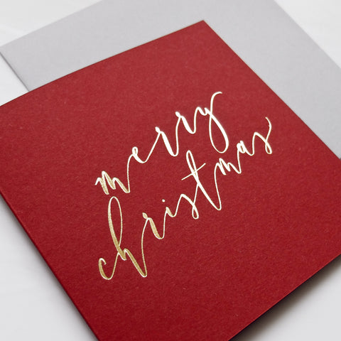Crimson and Gold Calligraphy Christmas Cards (card pack of 8)