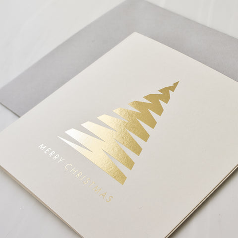 gold foil geometric Christmas tree Card Pack of 8