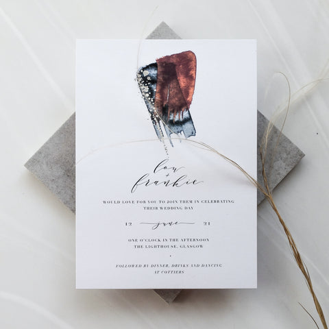 Double Watercolour and Silver Foil Invitation Suite