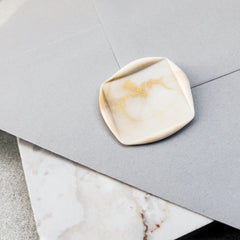 Self adhesive gold and white marbled square wax seal