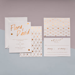 Urban Handwriting Copper Foil Wedding Stationery