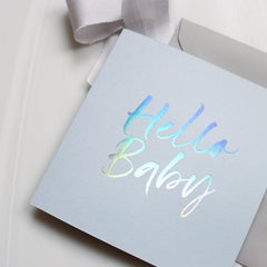 Pale Blue 'Hello Baby' Card