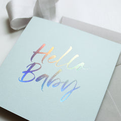 Mint Green 'Hello Baby' Card