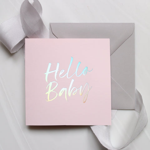Pale Pink 'Hello Baby' Card