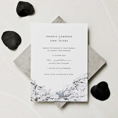 Blue Marbled Silver Foil Invitation Suite