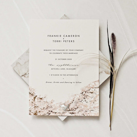 Pink Marbled Gold Foil Invitation Suite