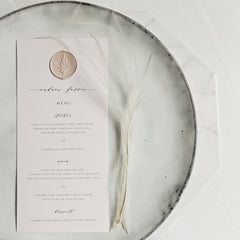 Blush Menu Place Setting with Wax Seal